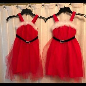 Mud Pie Girls Red Tulle Santa Dress & headband